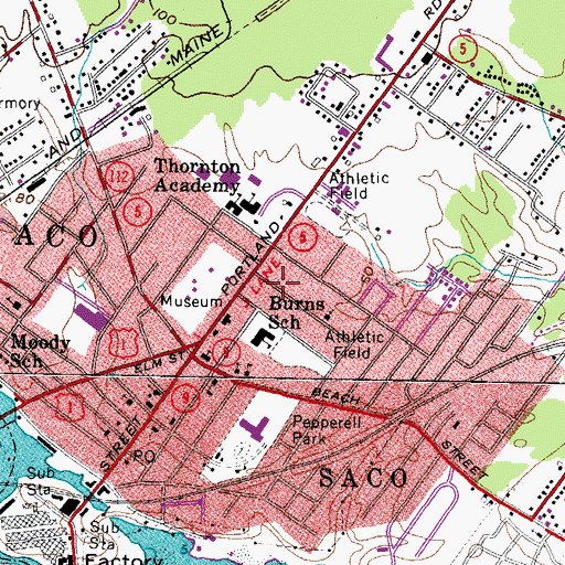 Topographic Map of Florence Lombard Seventh Day Adventist School, ME