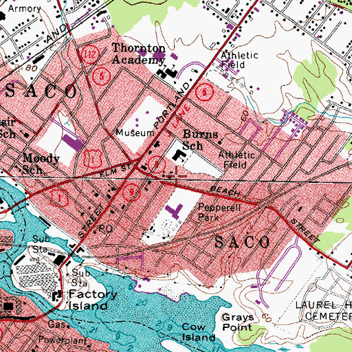 Topographic Map of Notre-Dame-De-Lourdes School, ME