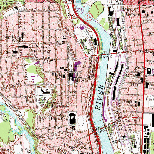 Topographic Map of Catholic Medical Center Health Sciences Library, NH