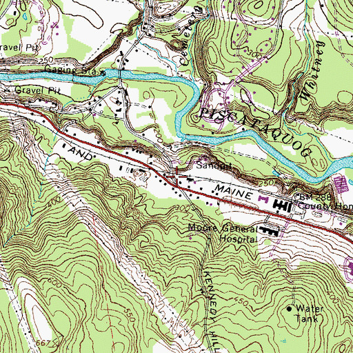 Topographic Map of Grasmere Station (historical), NH