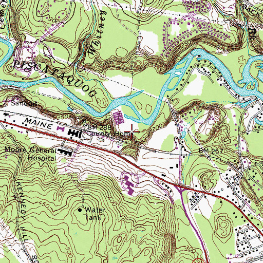 Topographic Map of Hillsborough County Farm, NH