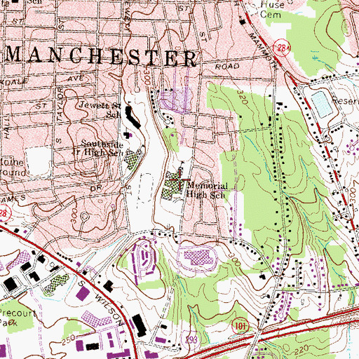 Topographic Map of Manchester Memorial High School, NH