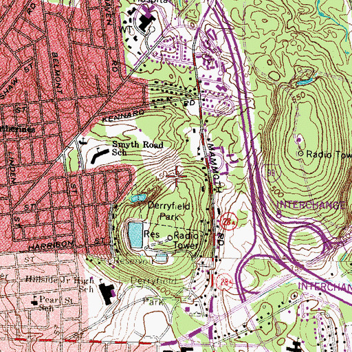 Topographic Map of McIntyre Ski Area, NH