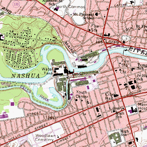 Topographic Map of Nashua Manufacturing Company Historic District, NH