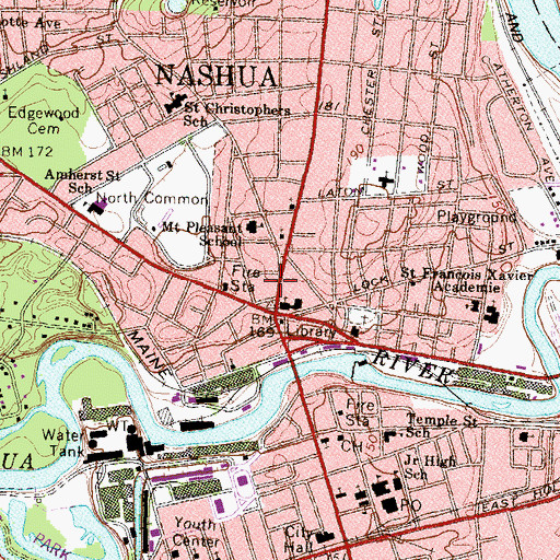 Topographic Map of Nashville Historic District, NH