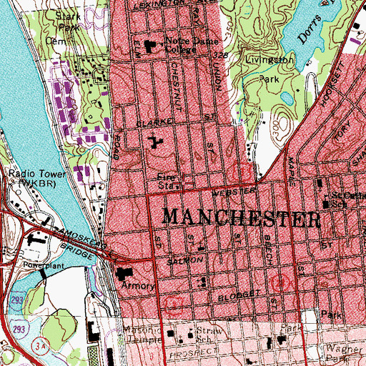 Topographic Map of Manchester Fire Department Station 5, NH