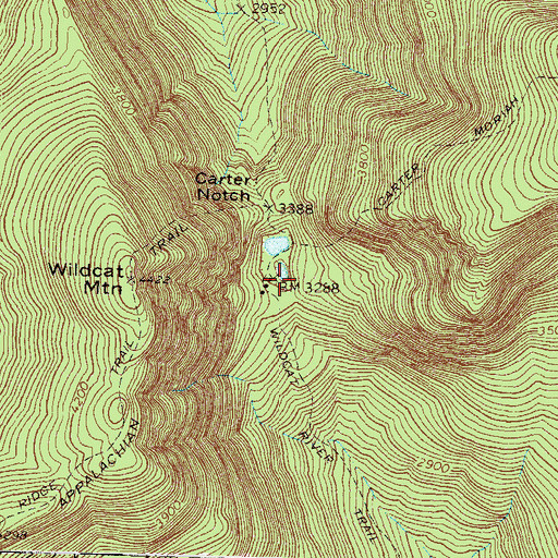 Topographic Map of Carter Notch Hut, NH