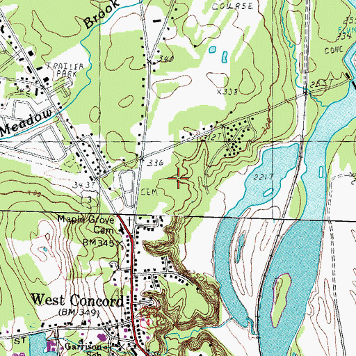 Topographic Map of Beaver Meadow School, NH