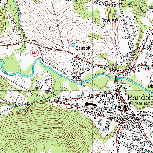 Topographic Map of Randolph-Town Recreation Center, VT