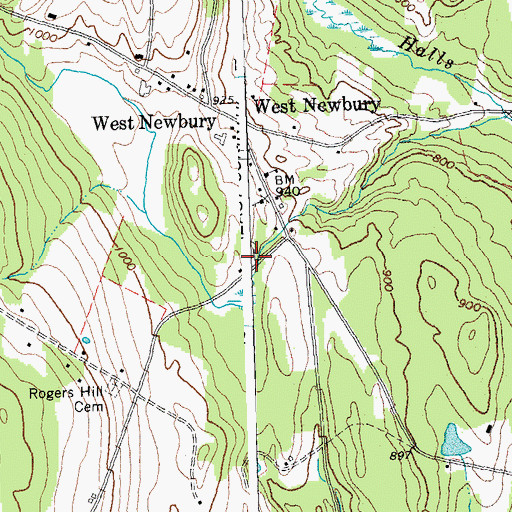 Topographic Map of West Newbury Cemetery, VT