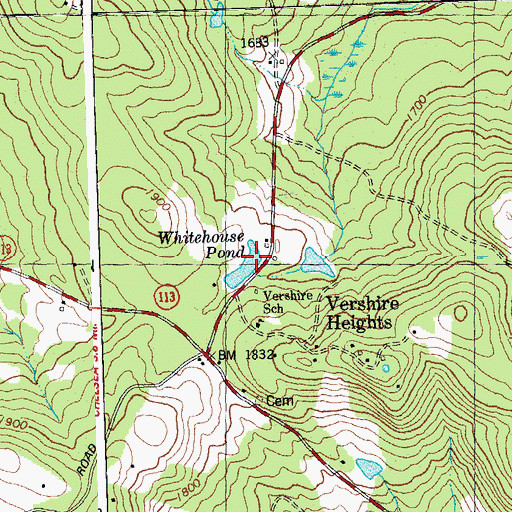 Topographic Map of Whitehouse Pond, VT