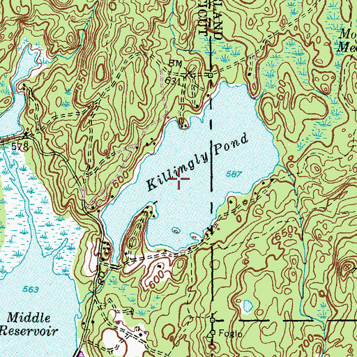 Topographic Map of Killingly Pond State Park Reserve, CT