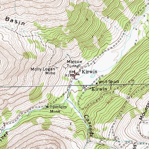 Kirwin Wyoming Map.Kirwin Post Office Historical Wy