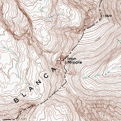 Topographic Map of Iron Nipple, CO
