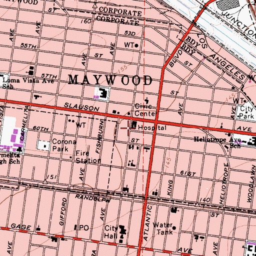 Topographic Map of South Gate-East Los Angeles Division, CA