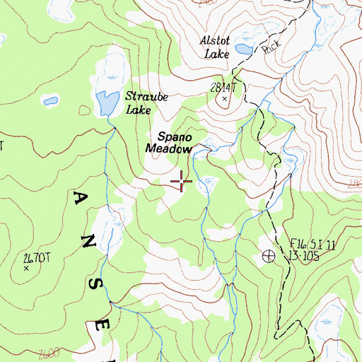 Topographic Map of Ansel Adams Wilderness, CA