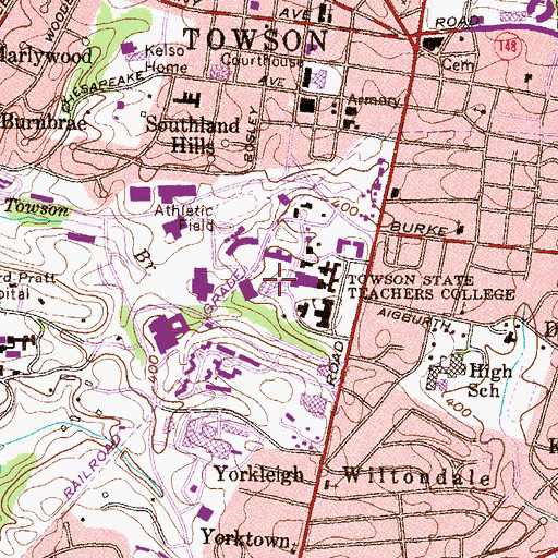 Topographic Map of Smith Hall, MD