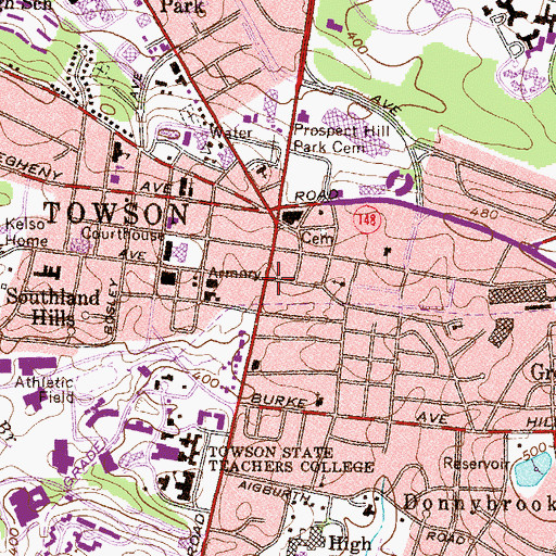 Topographic Map of Towson Area Library, MD