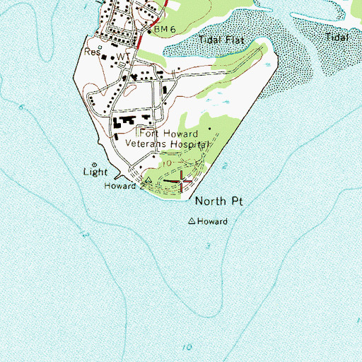 Topographic Map of Battery Harris (historical), MD