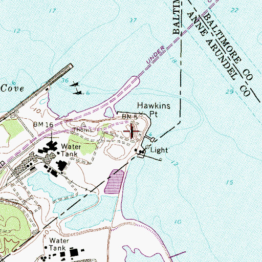 Topographic Map of Battery McFarland (historical), MD