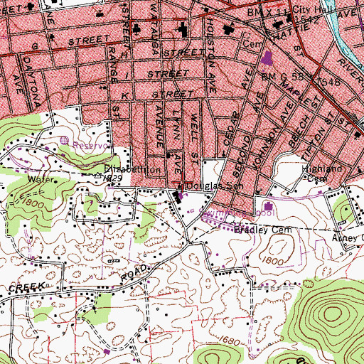 Topographic Map of Saint Marks Church of God, TN