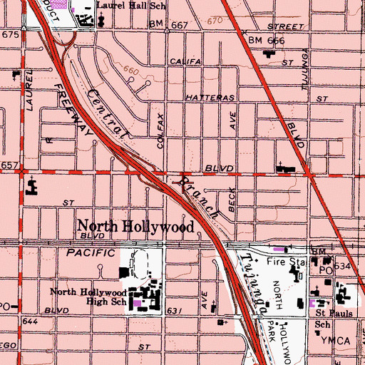 Topographic Map of Los Angeles Police Department - North Hollywood Community Police Station, CA