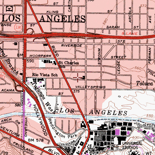 Topographic Map of Toluca Lake United Methodist Church, CA