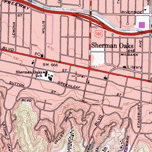 Topographic Map of Little Church of Sherman Oaks, CA