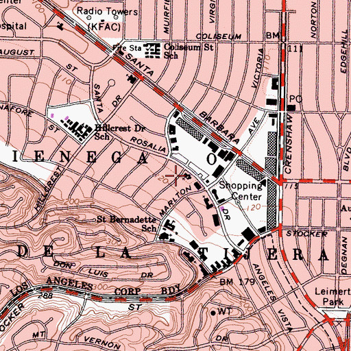 Topographic Map of Sixth Church of Christ Scientist, CA