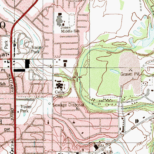 Topographic Map of Slick Ranch Creek, TX