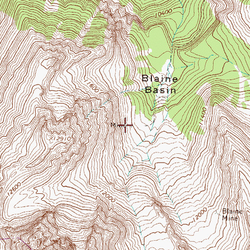 Topographic Map of Blaine Mine, CO