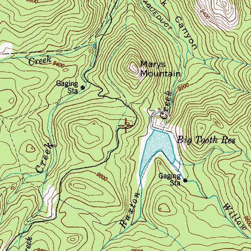 Topographic Map of Big Tooth Reservoir Dam, CO