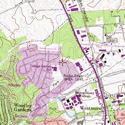 Topographic Map of College Gardens Elementary School, MD