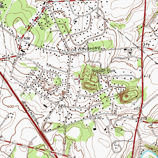 Topographic Map of Rodale County Park, PA