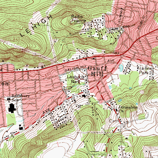 Topographic Map of Laubach Park, PA