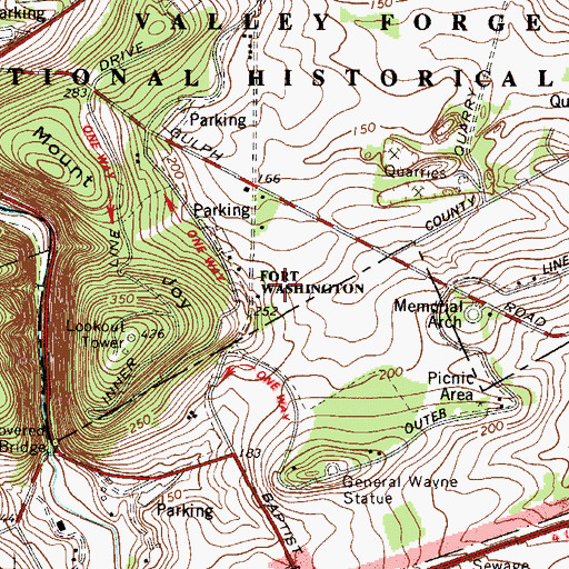 Topographic Map of Fort Washington (historical), PA