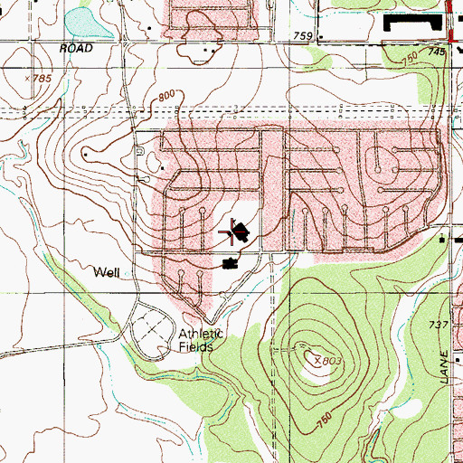 Topographic Map of Adams Hill Elementary School, TX