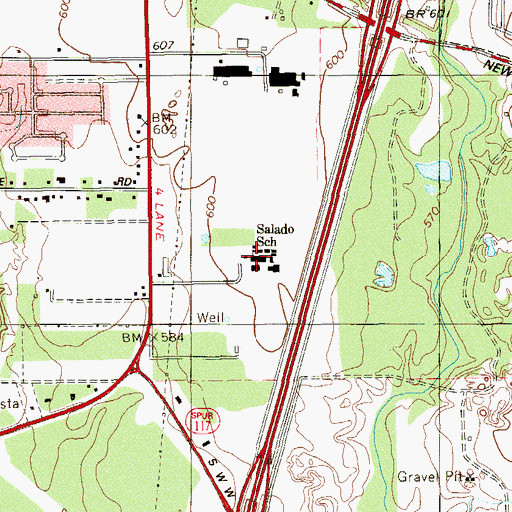 Topographic Map of Salado Intermediate School, TX