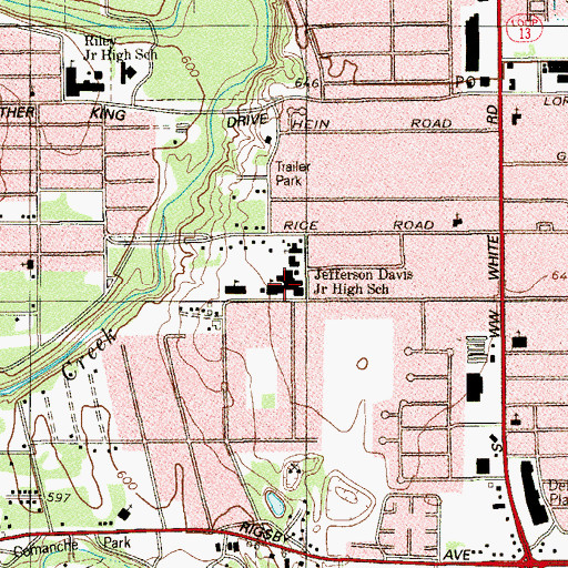 Topographic Map of Henry Carroll Elementary School, TX