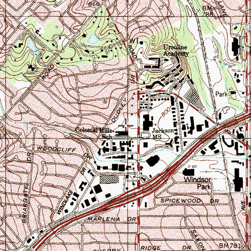 Topographic Map of Colonial Hills Elementary School, TX