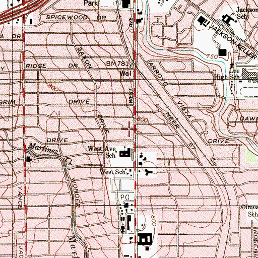 Topographic Map of West Avenue Elementary School, TX