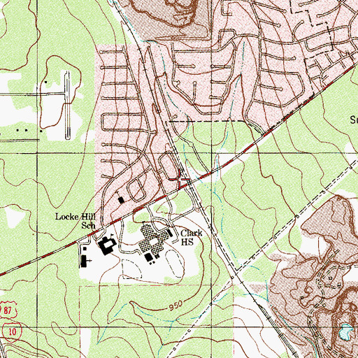 Topographic Map of Tom Clark High School, TX