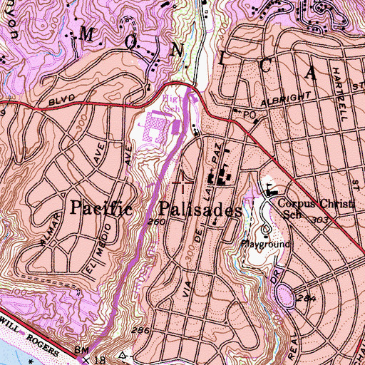 Topographic Map of Pacific Palisades Elementary School, CA