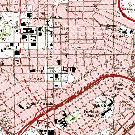 Topographic Map of Metropolitan Methodist Hospital, TX