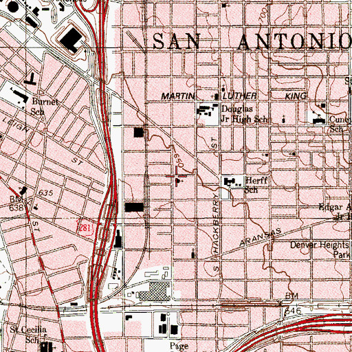 Topographic Map of Saint Michaels Catholic Church, TX