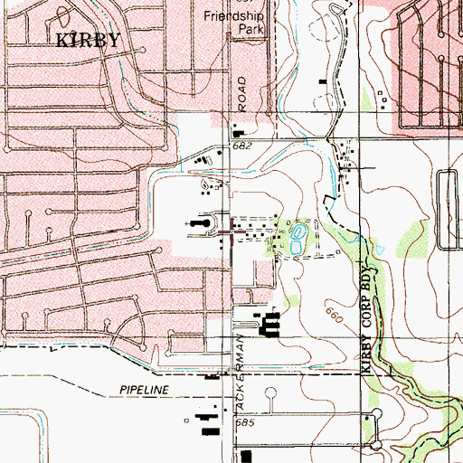Topographic Map of Saint Joan of Arc Catholic Church, TX