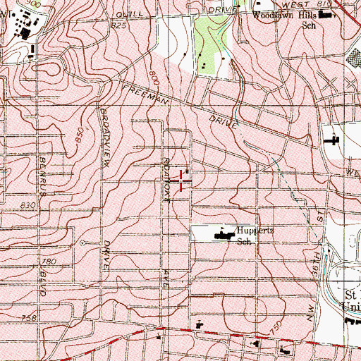 Topographic Map of Woodlawn Hills Baptist Church, TX