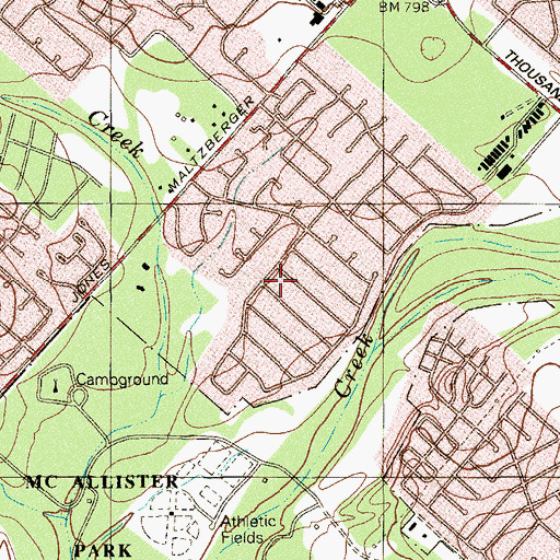 Topographic Map of River City Community Church, TX