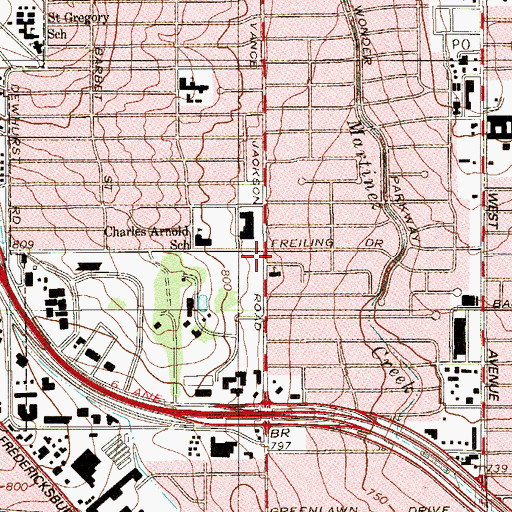 Topographic Map of United Methodist Church Saint Marks, TX