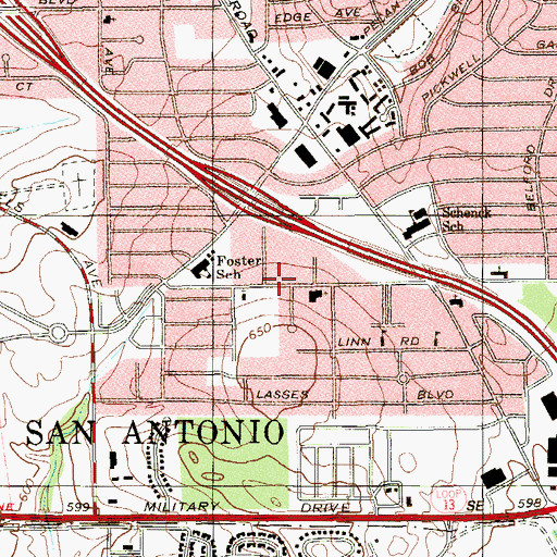 Topographic Map of First United Pentecostal Church, TX